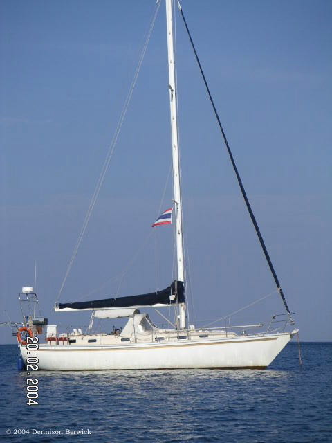 "My first sailboat ""SV Karuna"", a Roberts 36, at anchor in Thailand in 2004"