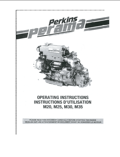 Perkins engine Operating Instructions M20