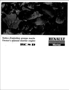 Renault RC8D Diesel Engine Manual cover
